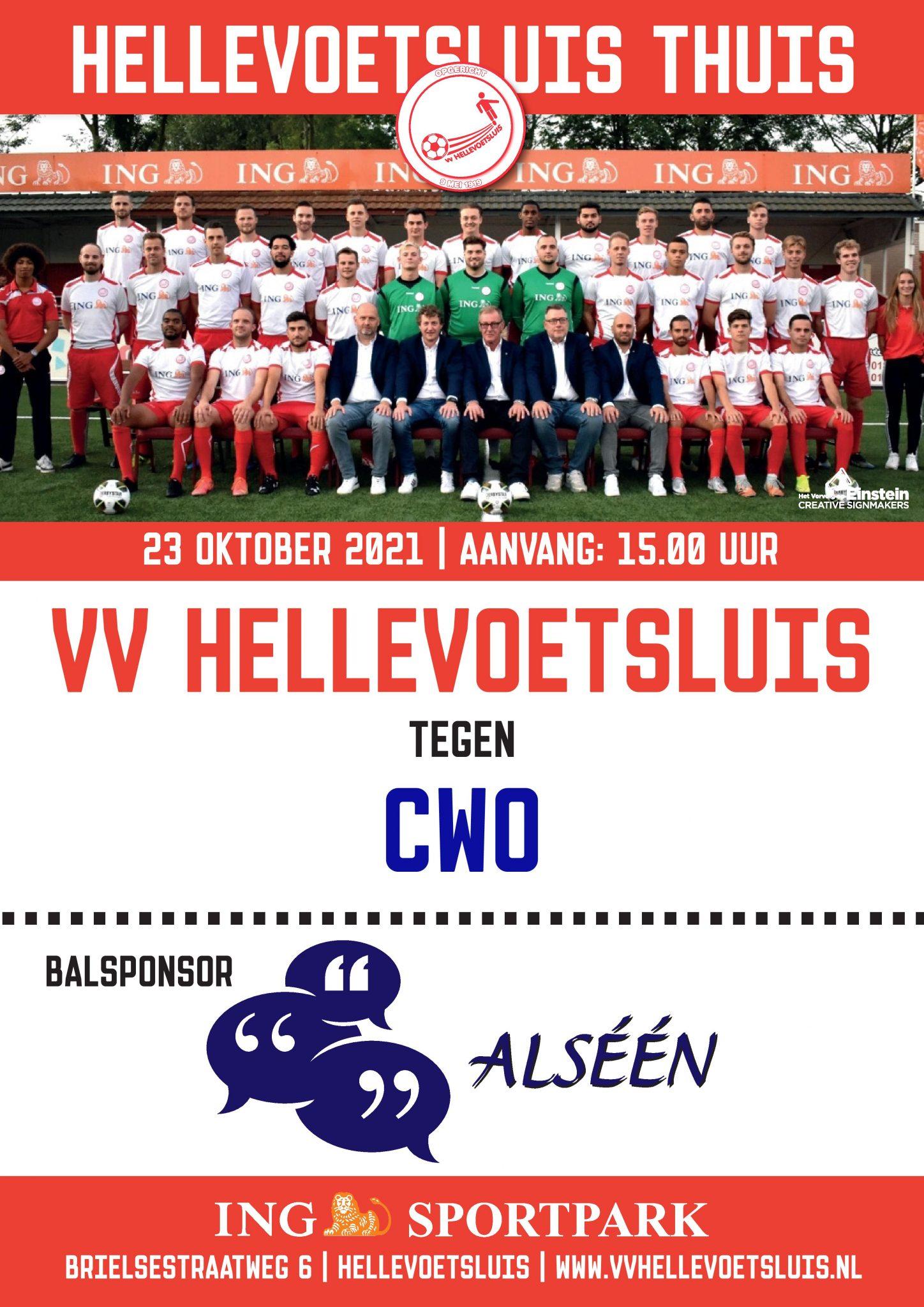Zaterdag 23 oktober, aanvang 15.00 uur: Hellevoetsluis - CWO